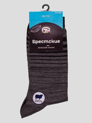 Шкарпетки темно-сірі в смужку | 4663505