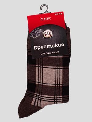 Шкарпетки темно-коричневі в клітинку | 4663462