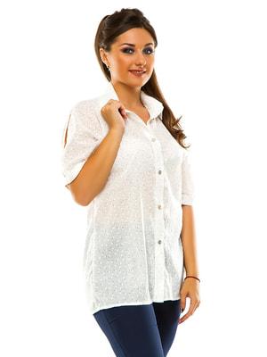Сорочка біла в квітковий принт | 3470121