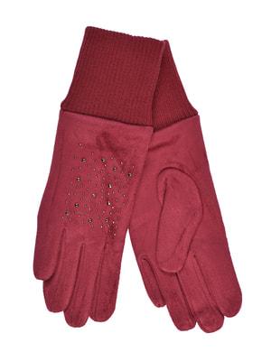 Перчатки бордовые подростковые | 4634492