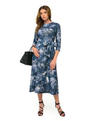 Платье синее с цветочным принтом   4697198