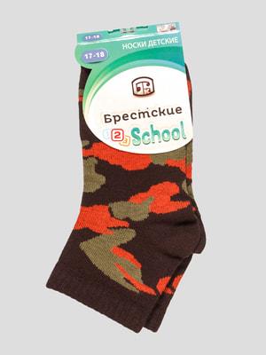 Шкарпетки коричневі з малюнком | 4663727