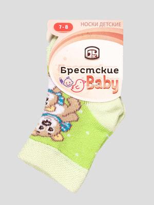 Шкарпетки салатові з малюнком | 4663706