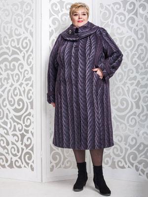 Пальто сливового кольору в малюнок   4628455