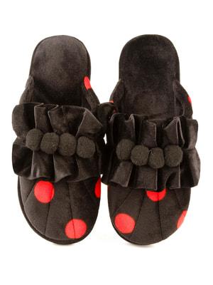 Тапочки чорні у червоний горошок | 4705050