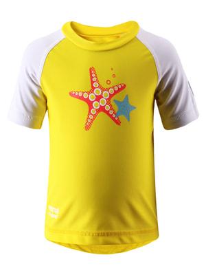 Футболка желтая с принтом | 942862