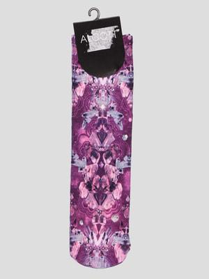 Носки цвета фуксии с принтом | 4627251