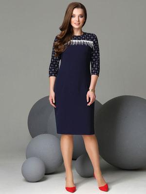 Сукня синя з принтом | 4709212