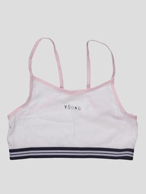 Топ біло-рожевий з написом | 2627453