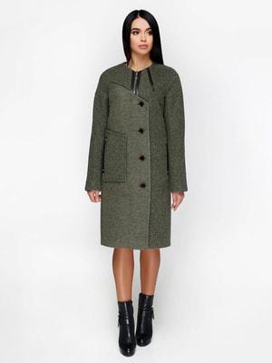 Пальто темно-оливкового кольору   4711650
