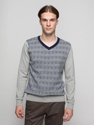 Пуловер сірий з принтом | 4704552
