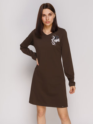 Сукня коричнева з вишивкою домашня | 2627432