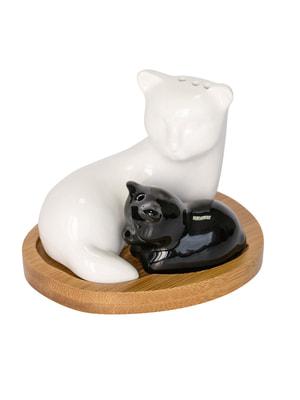 Набір на підставці для солі/перцю «Кішка та кошеня» | 4714334