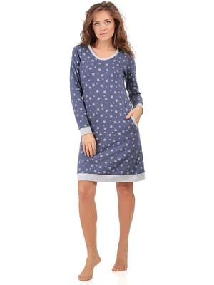 Рубашка ночная синяя в принт | 4715432