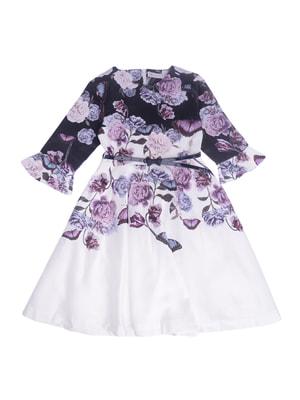 Платье молочное с цветочным принтом | 4714261