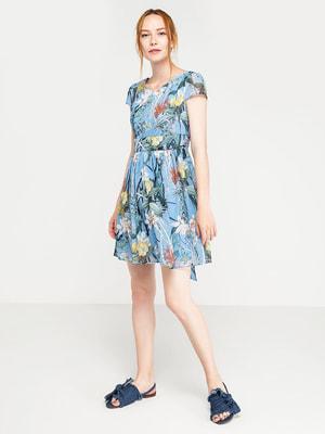 Сукня блакитна в квітковий принт | 4351369