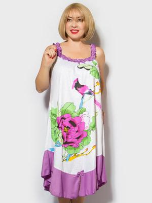 Рубашка ночная в цветочный принт | 4706892