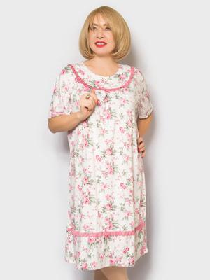 Рубашка ночная в цветочный принт | 4718016