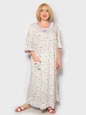 Рубашка ночная в цветочный принт | 4718020