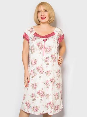 Рубашка ночная в цветочный принт | 4718024