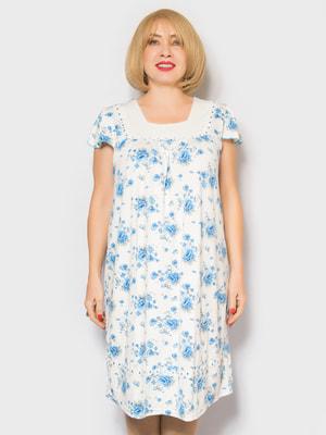 Рубашка ночная в цветочный принт | 4718026