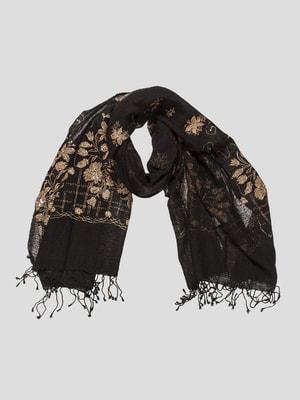 Шаль черная в цветочный принт | 2149493