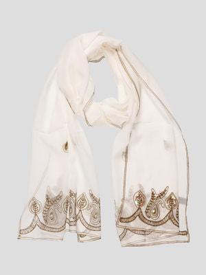 Шаль белая с декорированной вышивкой свадебная | 4186740
