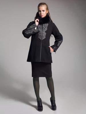 Пальто чорне з вишивкою   4493613