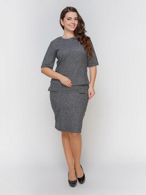 Костюм серый: блуза и юбка | 4695823