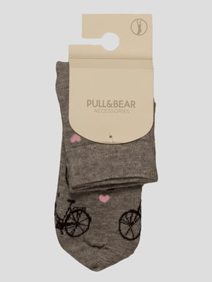 Носки серые с принтом | 2710265