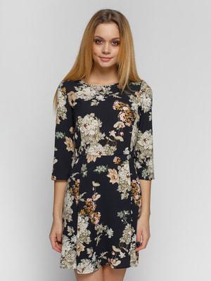 Платье черное в цветы | 3799497