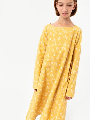 Платье желтое в принт   4613432