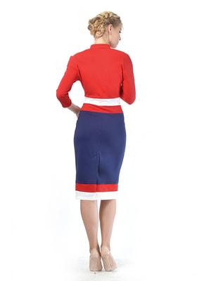 Платье красно-синее с контрастными вставками | 4724006