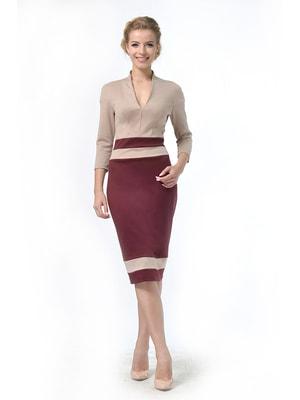 Сукня бордово-пісочного кольору | 4724009