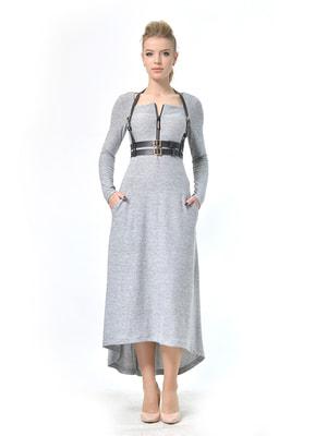 Сукня світло-сіра з портупеєю   4724122