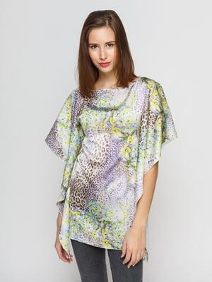 Блуза молочного кольору з комбінованим принтом | 3157515