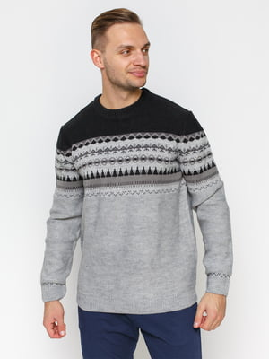 Джемпер черно-серый с орнаментом | 2992418