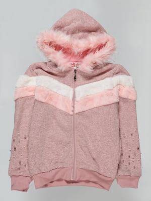 Толстовка бежево-розовая утепленная | 4725427