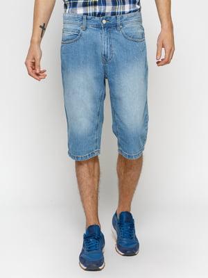 Бриджи голубые джинсовые с эффектом слегка потертых | 1899059