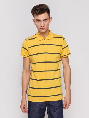 Футболка-поло жовта в смужку | 3038182