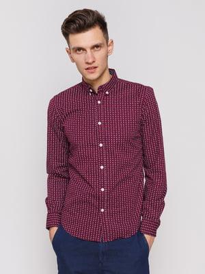 Рубашка бордовая с принтом | 3966667