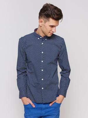 Рубашка синяя с принтом | 3966666