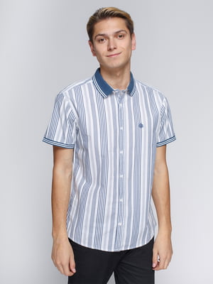 Рубашка бело-синяя в полоску | 1899204