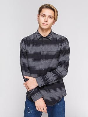Рубашка черно-серая в полоску | 3038191
