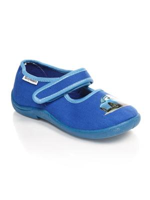 Тапочки сині з принтом | 4708064