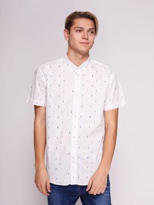 Рубашка белая с принтом | 3009847