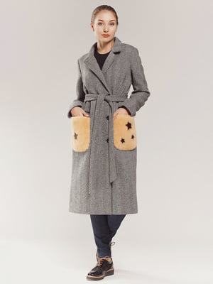 Пальто серое в принт | 4739298