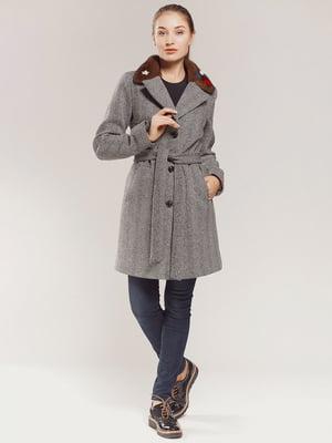 Пальто серое в принт | 4739299