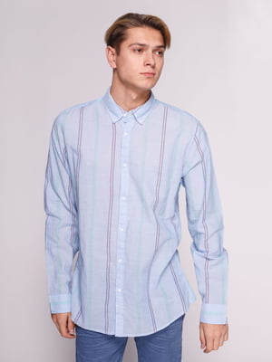 Сорочка блакитна в смужку | 3010305