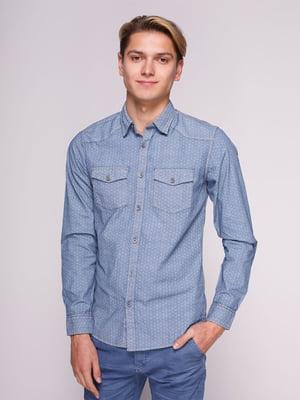 Рубашка голубая в принт | 3009769